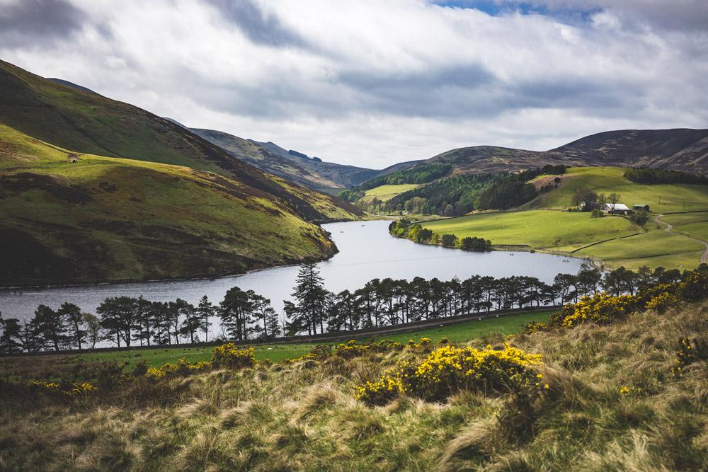 A lake in the Pentland Hills outside Edinburgh.