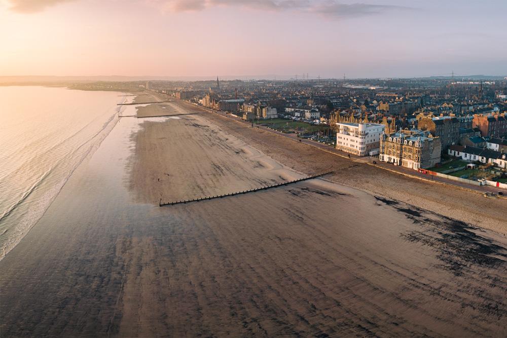 Aerial view of Edinburgh's Portobello beach and promenade