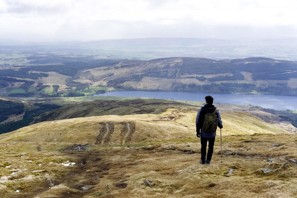 Man hiking in the Pentland Hills