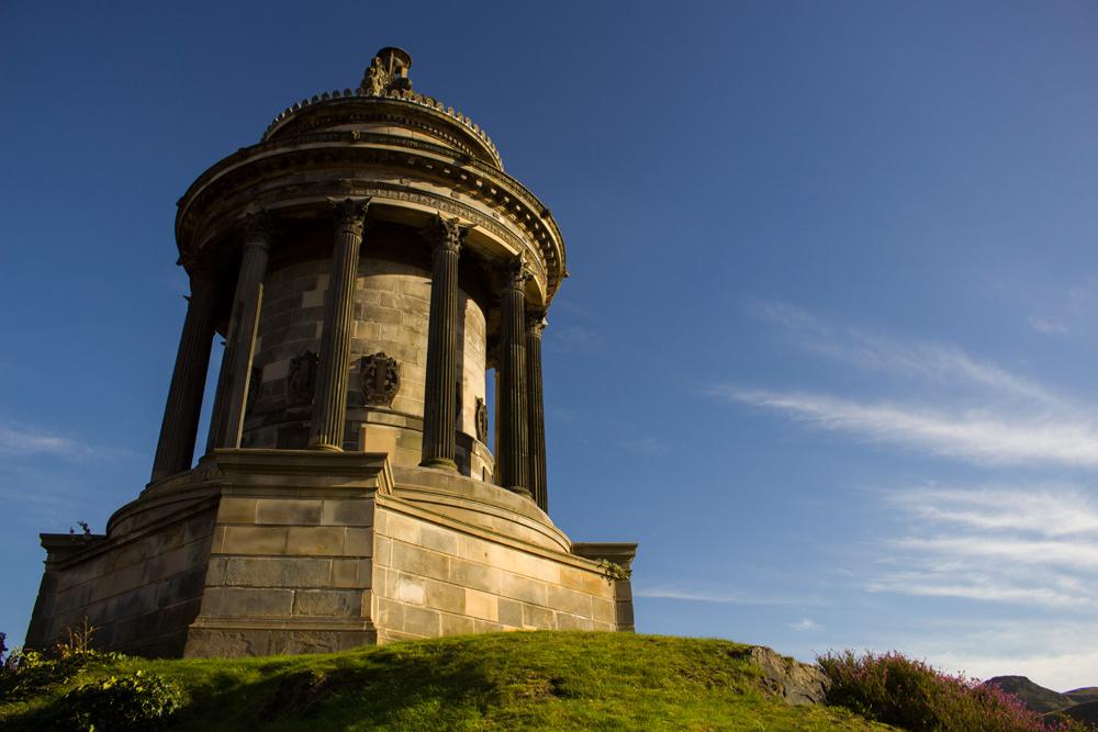 The Burns Monument on Calton Hill in Edinburgh