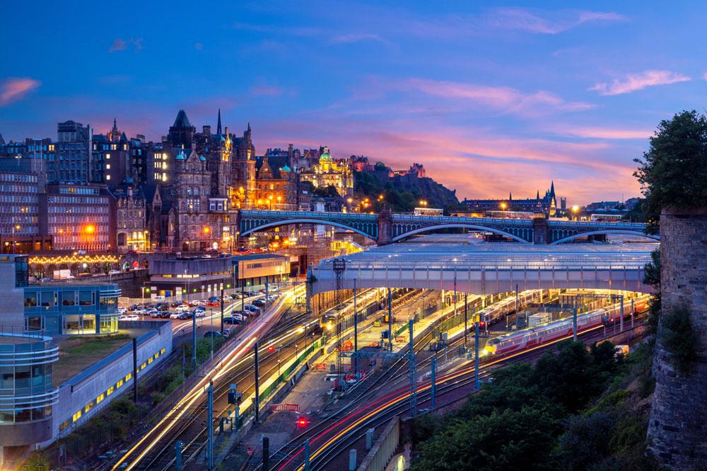 Edinburgh Waverley Train Station at night