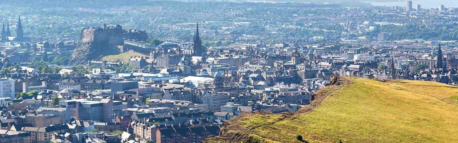Edinburgh and Salisbury Crags form the air