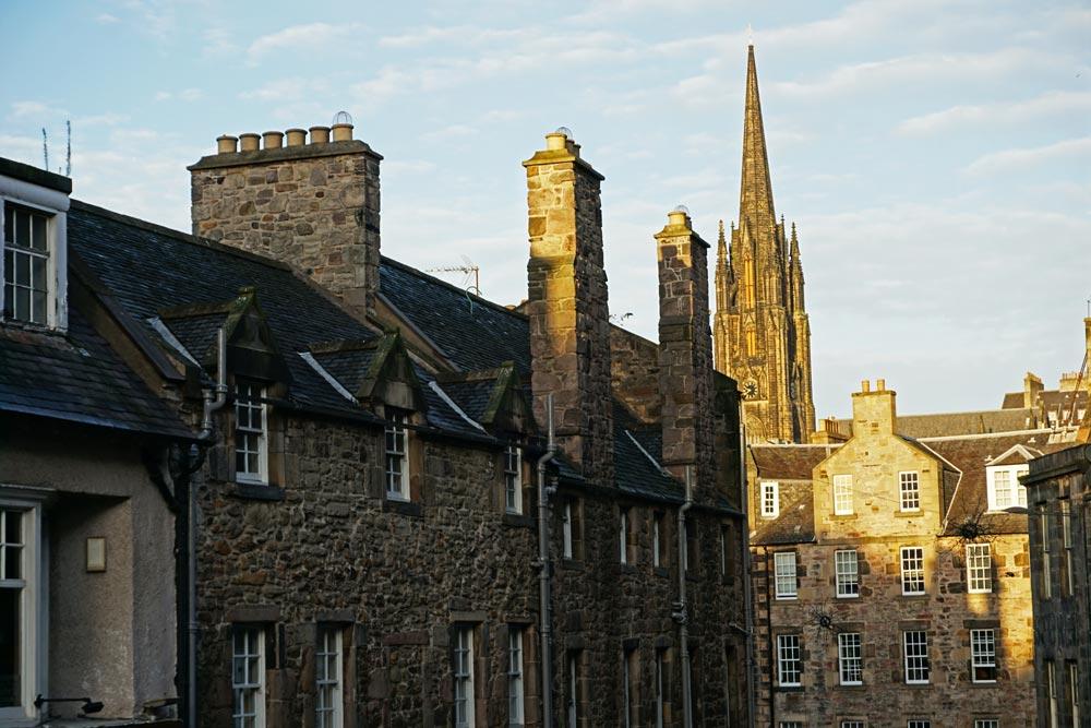 Tops of buildings looking down Candlemaker Row in Edinburgh