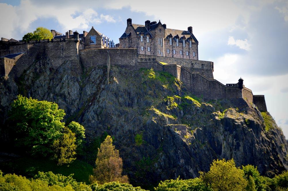 Edinburgh Castle sitting on top of Castle Rock
