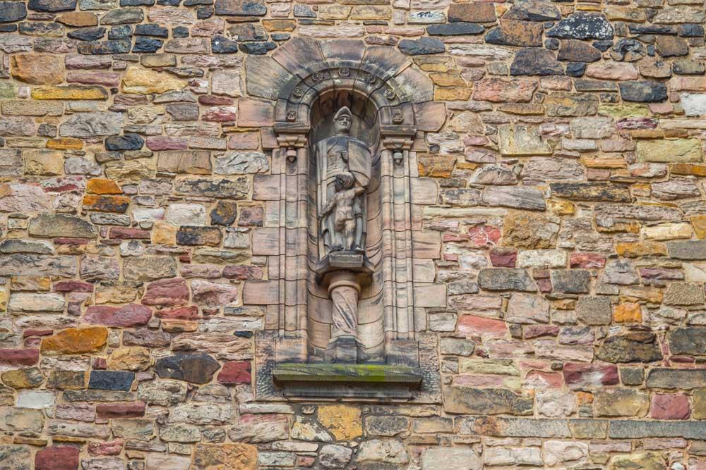 Statue on wall inside Edinburgh Castle