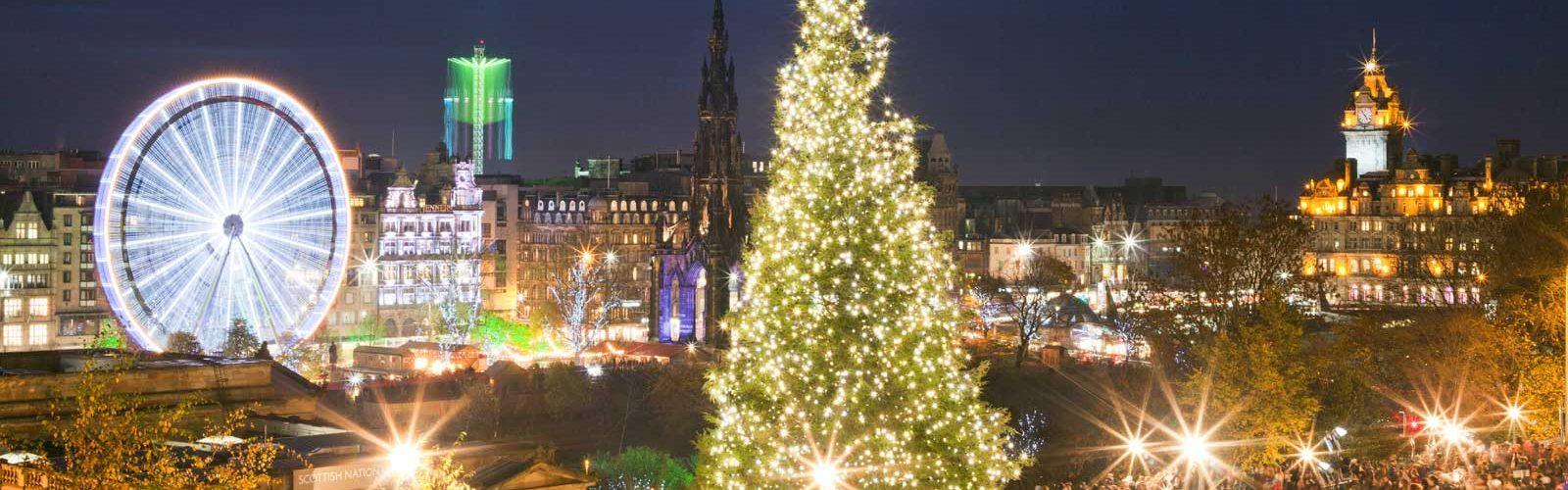 Edinburgh at night with Christmas lights