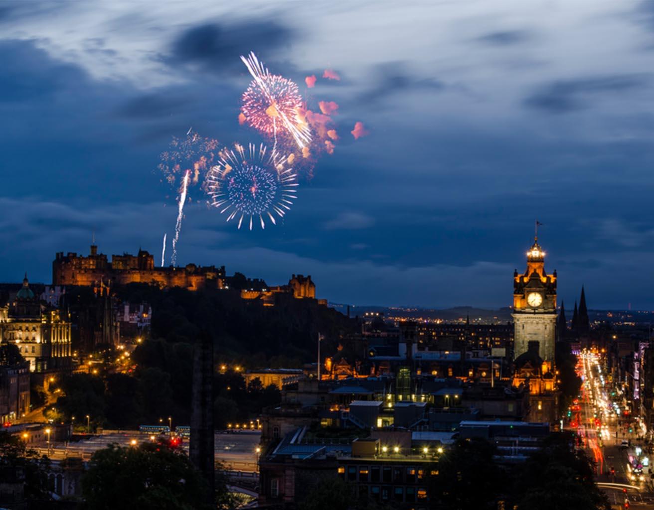 Edinburgh fireworks over the castle at Hogmanay.