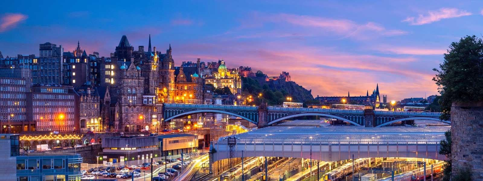 Beautiful evening view of Edinburgh Waverley Station