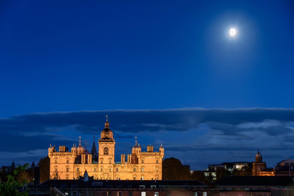 George Heriots School in Edinburgh at night
