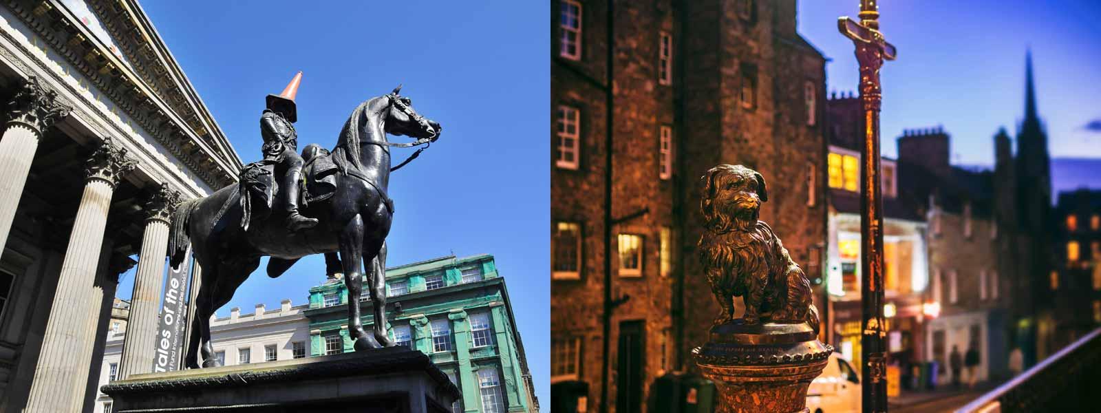 Duke of Wellington and Greyfriars Bobby Statues