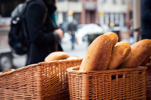 Fresh bread on a market stall in Edinburgh's Grassmarket