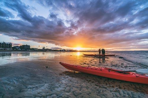 Portobello Beach in Edinburgh at sunset