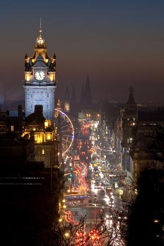View of Princes Street in Edinburgh at night