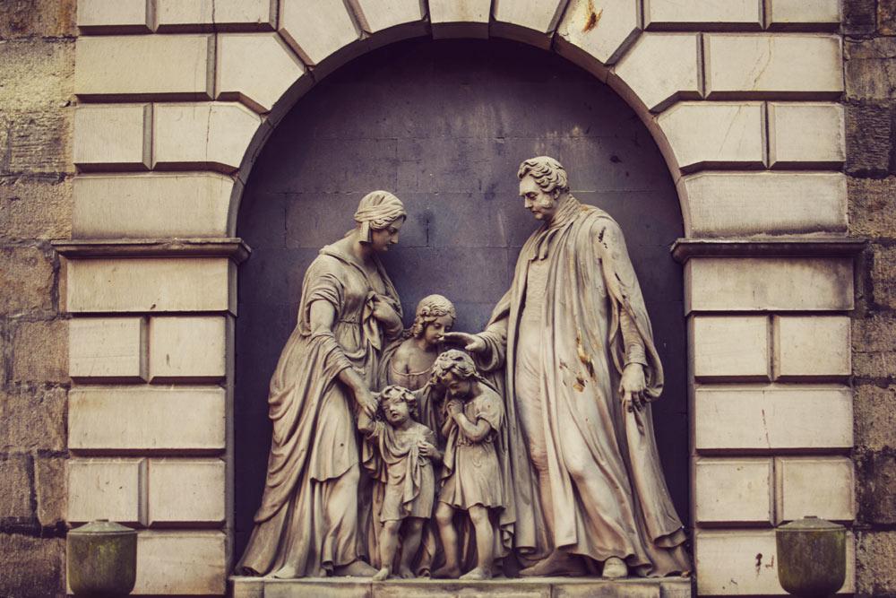 Statues in St Cuthberts Graveyard Edinburgh