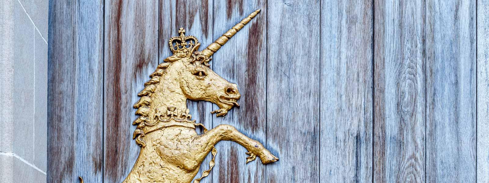 Golden Unicorn on Holyrood Palace entrance