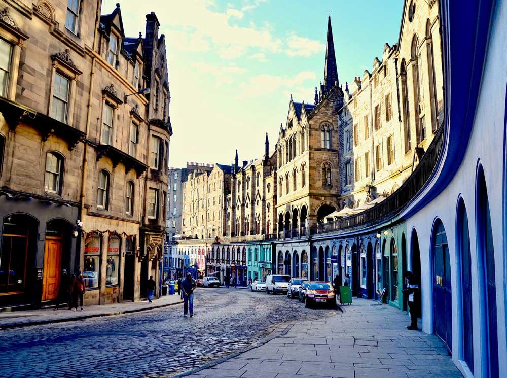 View down Victoria Street in Edinburgh