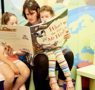 Children being read to in the Edinburgh International Book Festival's Independent bookshop for children