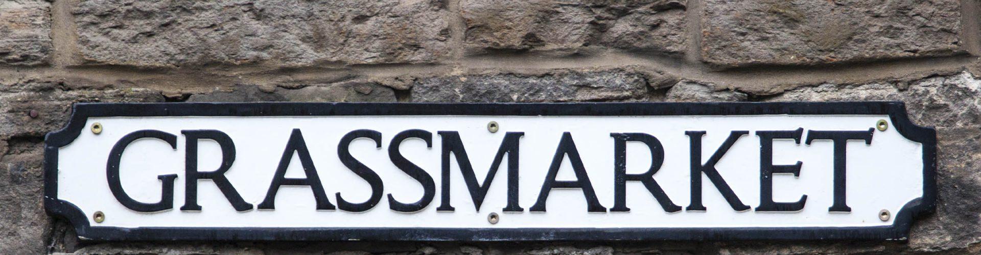 A sign for the Grassmarket in Edinburgh
