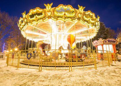 A festive carousel lit up in Edinburgh