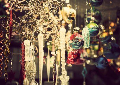 A Christmas market stall in Edinburgh