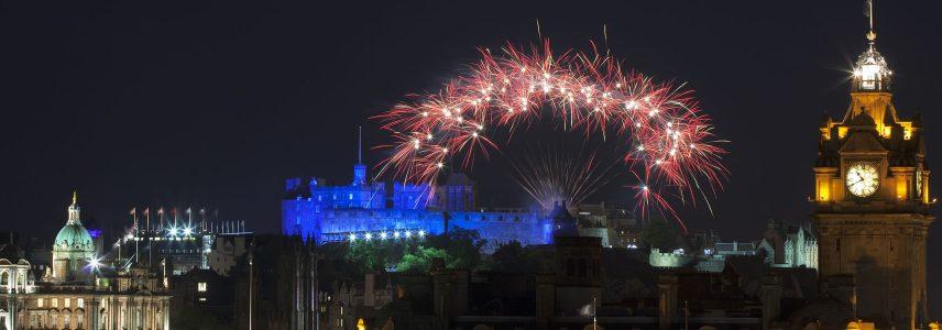 Fireworks over Edinburgh Castle at New Year