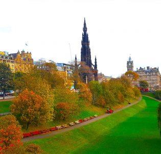 Princes Street Gardens in Edinburgh with the Scott Monument next to it