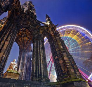 The Scott Monument and Big Wheel at the Edinburgh Christmas Festival