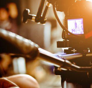 A camera filming