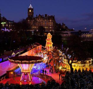 The Edinburgh Christmas Market lit up at the Edinburgh Christmas Festival