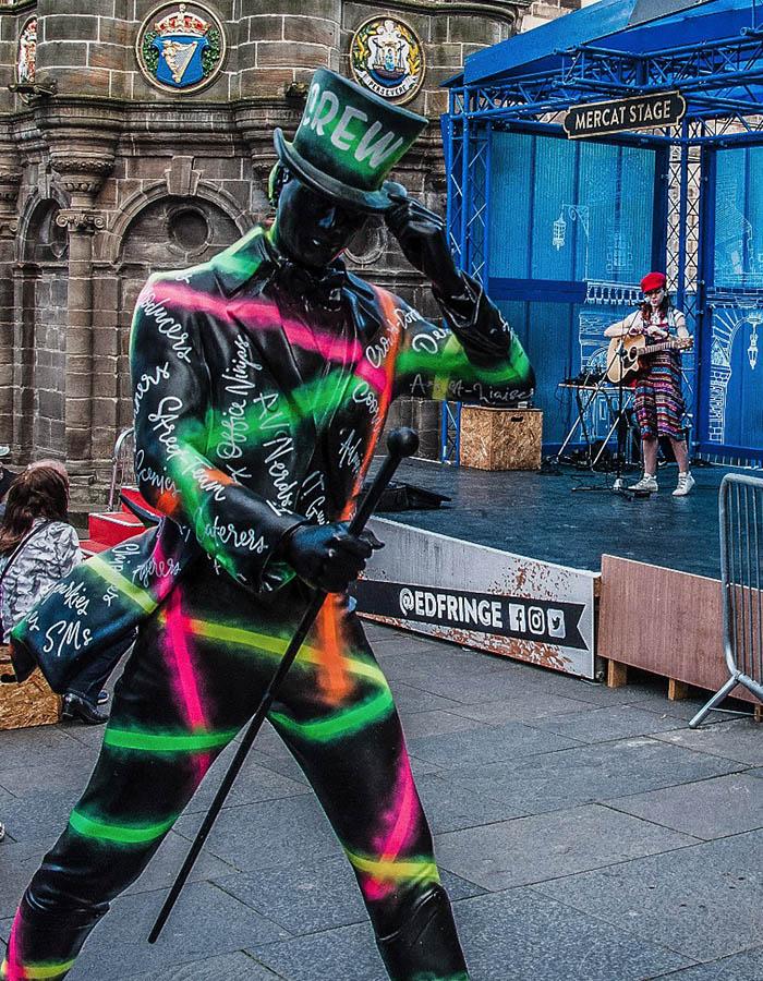 A street performer at the Edinburgh Festival Fringe