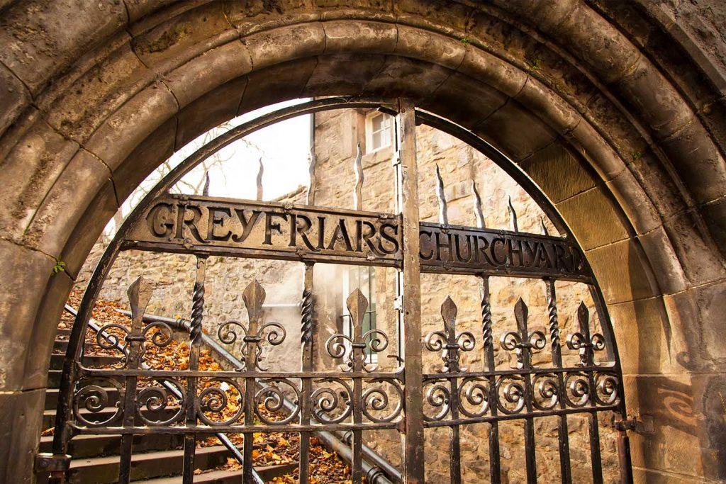 The gates into Greyfriars Churchyard in Edinburgh