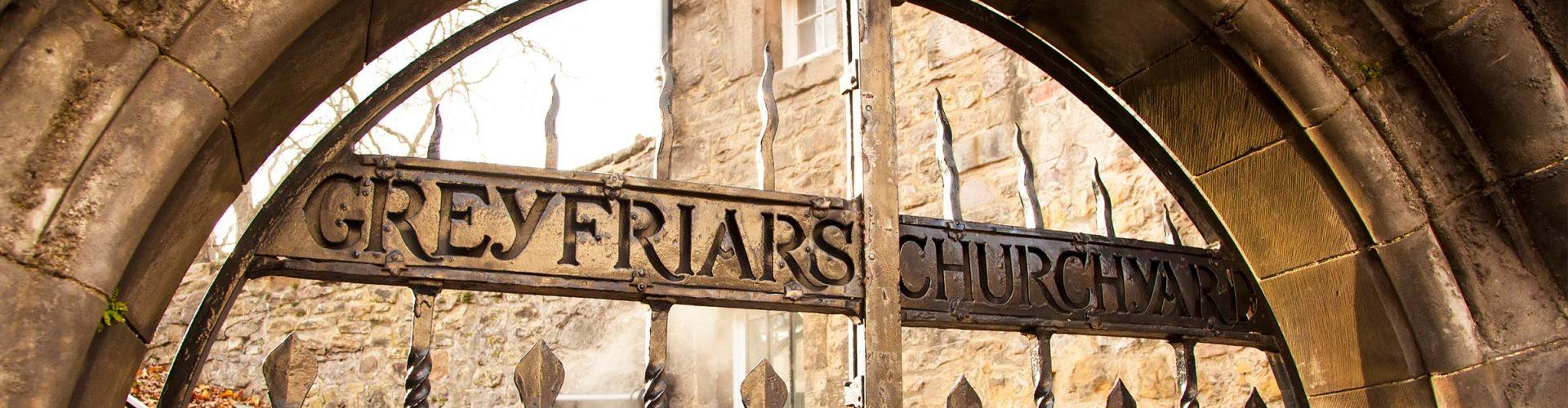 The gates to the churchyard at Greyfriars Kirk