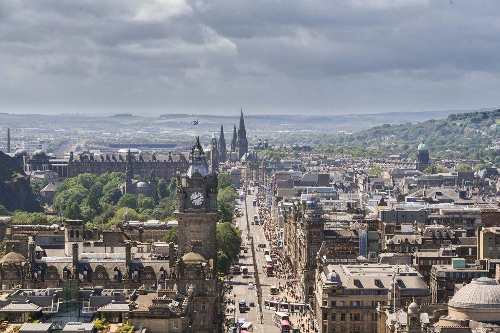 Looking down Princes Street in Edinburgh
