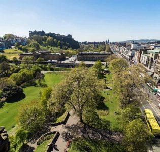 A birds eye view of Princes Street and Princes Street Gardens in Edinburgh