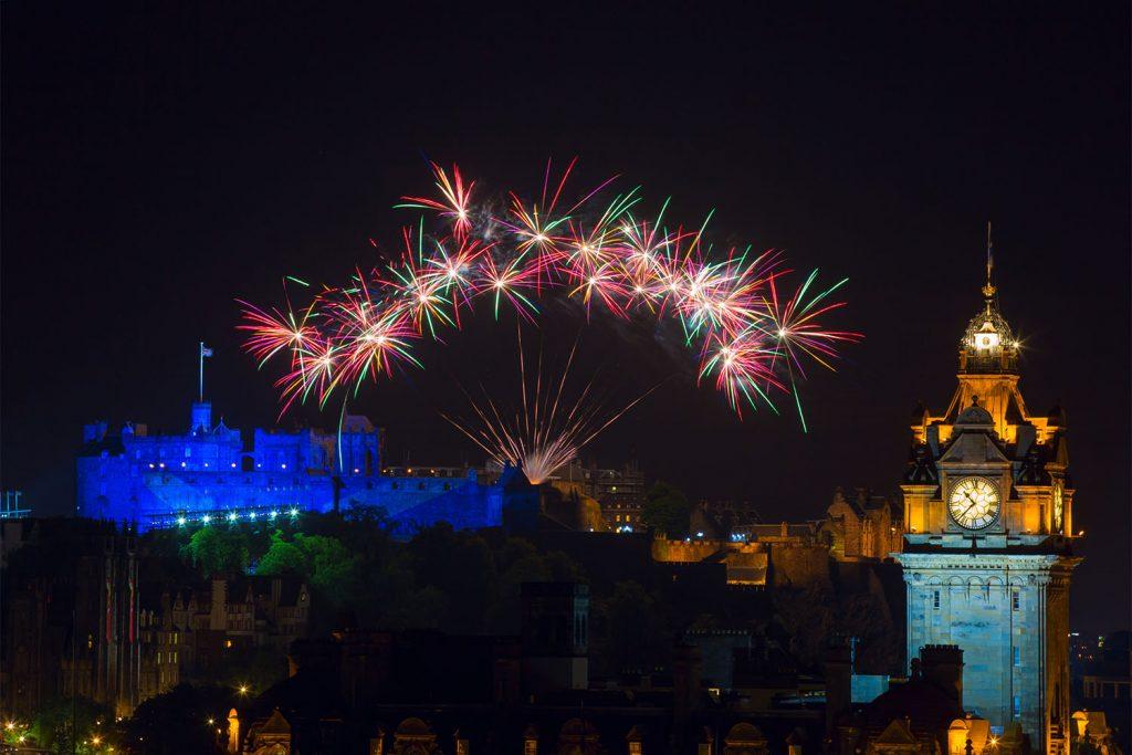 Fireworks above Edinburgh Castle at the Royal Edinburgh Military Tattoo