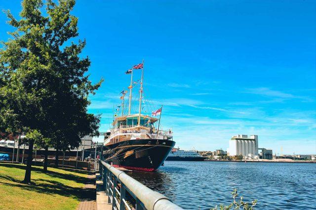 Royal Yacht Britannia docked in Leith