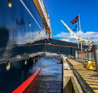 Royal Yacht Britannia docked in Leith harbour