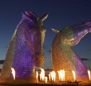 View of The Kelpies horses head figures in Falkirk