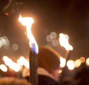 A torchlit procession on Edinburgh Hogmanay