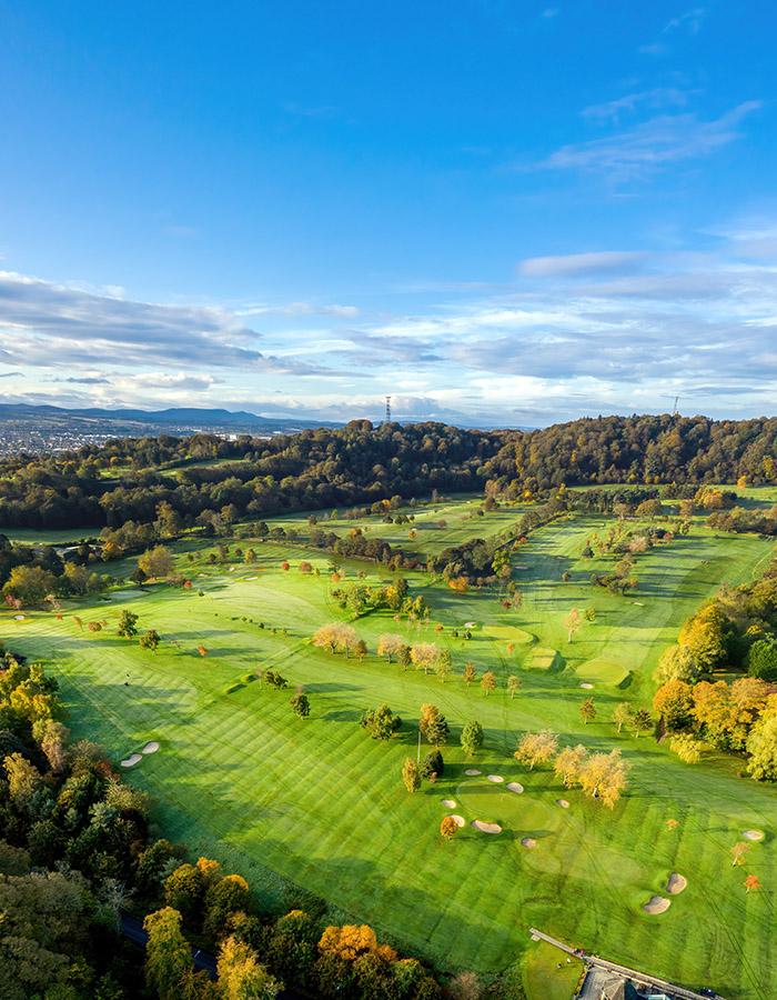 A aerial view of Ravelston golf course, Edinburgh