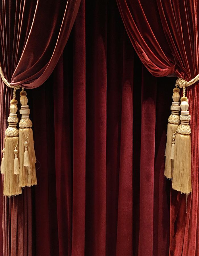 Red velvet theatre curtains