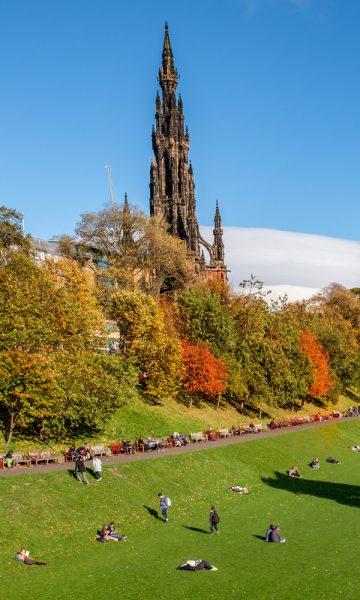 Scott Monument and Princes Street Gardens in Autumn