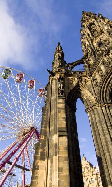 Scott Monument with Ferris Wheel behind