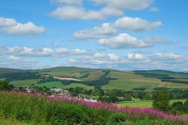 Countryside near Selkirk in Scotland