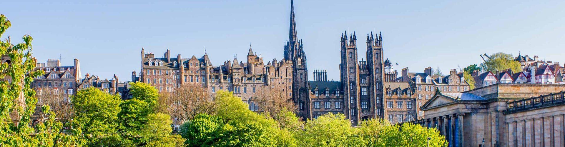 View of Edinburgh buildings from Princes Street Gardens