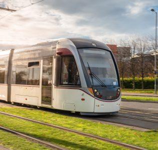 A moving tram in Edinburgh