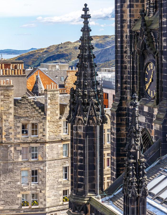 Close up of The Hub tower on the Royal Mile Edinburgh