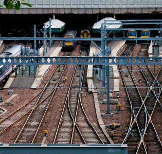 View of train tracks and trains at Waverley Station Edinburgh