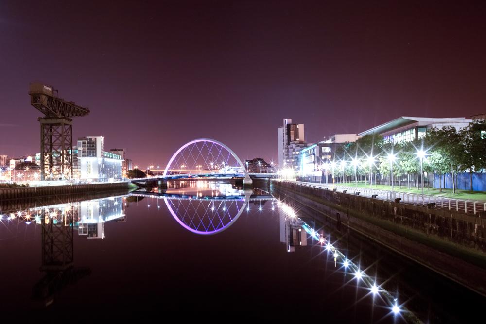Glasgow Clyde Arc Bridge at night