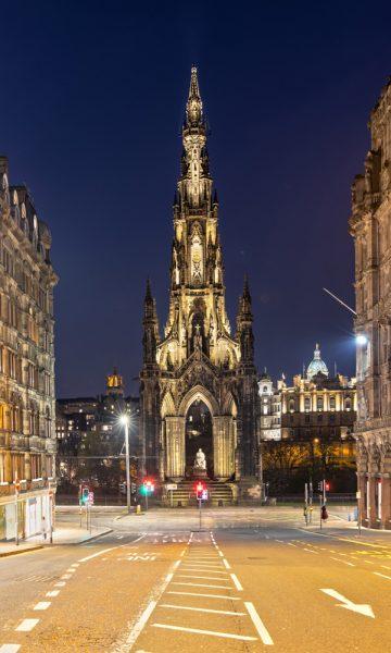 Scott Monument at night viewed from S St David Street